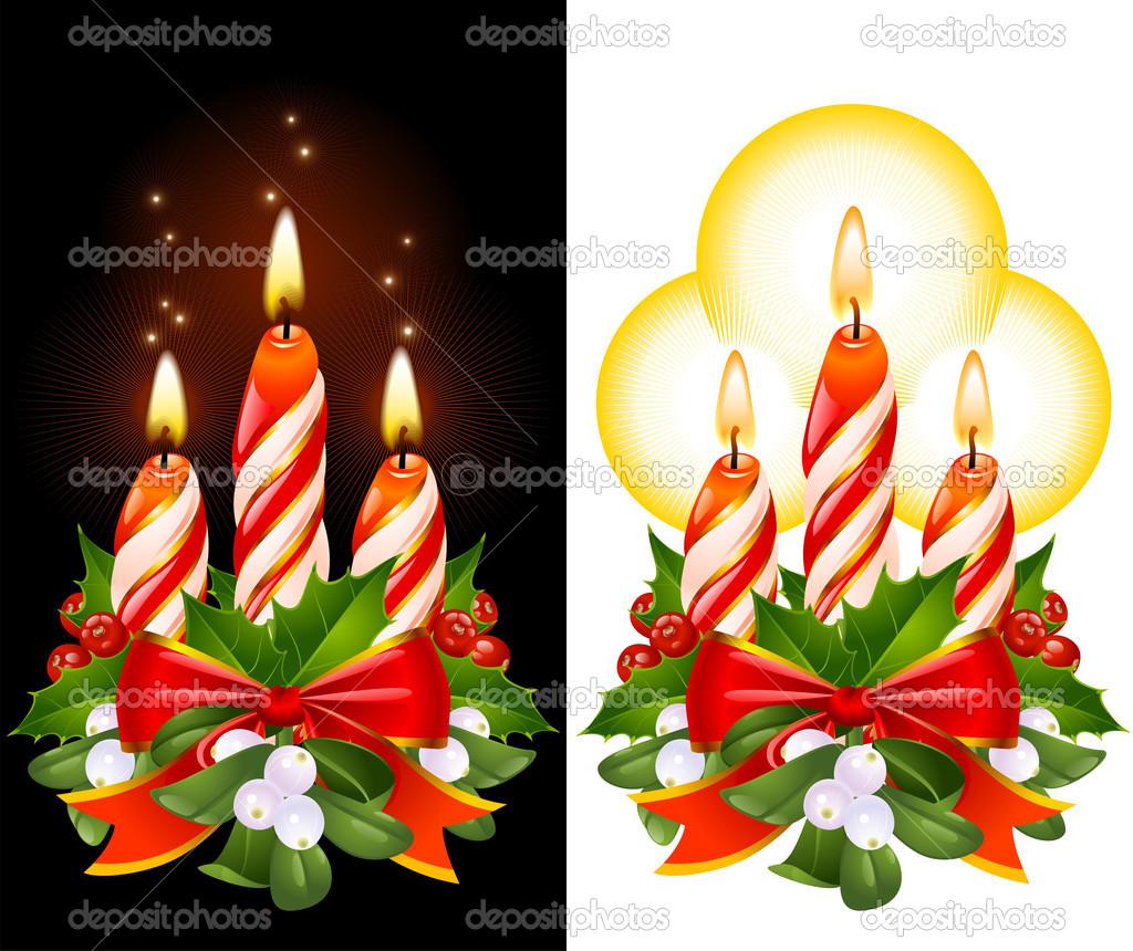 La Cinta Acebo Muerdago Y Velas De Navidad Archivo Imagenes - Velas-de-navidad