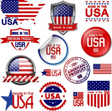 Made in the USA. Set of vector graphic icons and labels stock vector