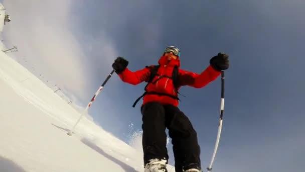 Skifahren im Pulverschnee.