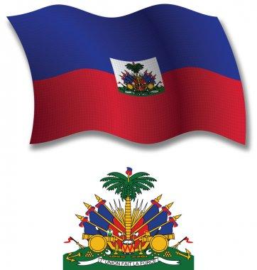haiti textured wavy flag vector