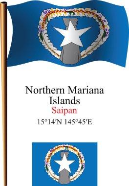 Northern mariana islands wavy flag and coordinates
