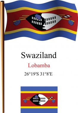 swaziland wavy flag and coordinates
