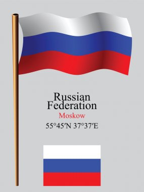 russia wavy flag and coordinates