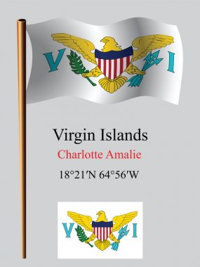 Virgin islands wavy flag and coordinates