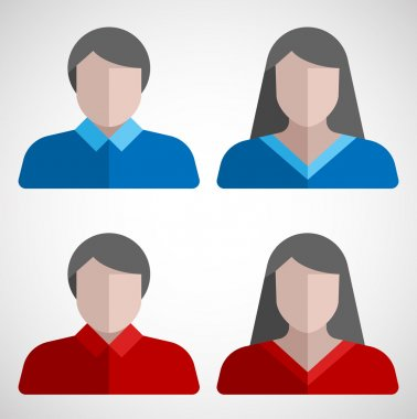 Male and female user flat icons