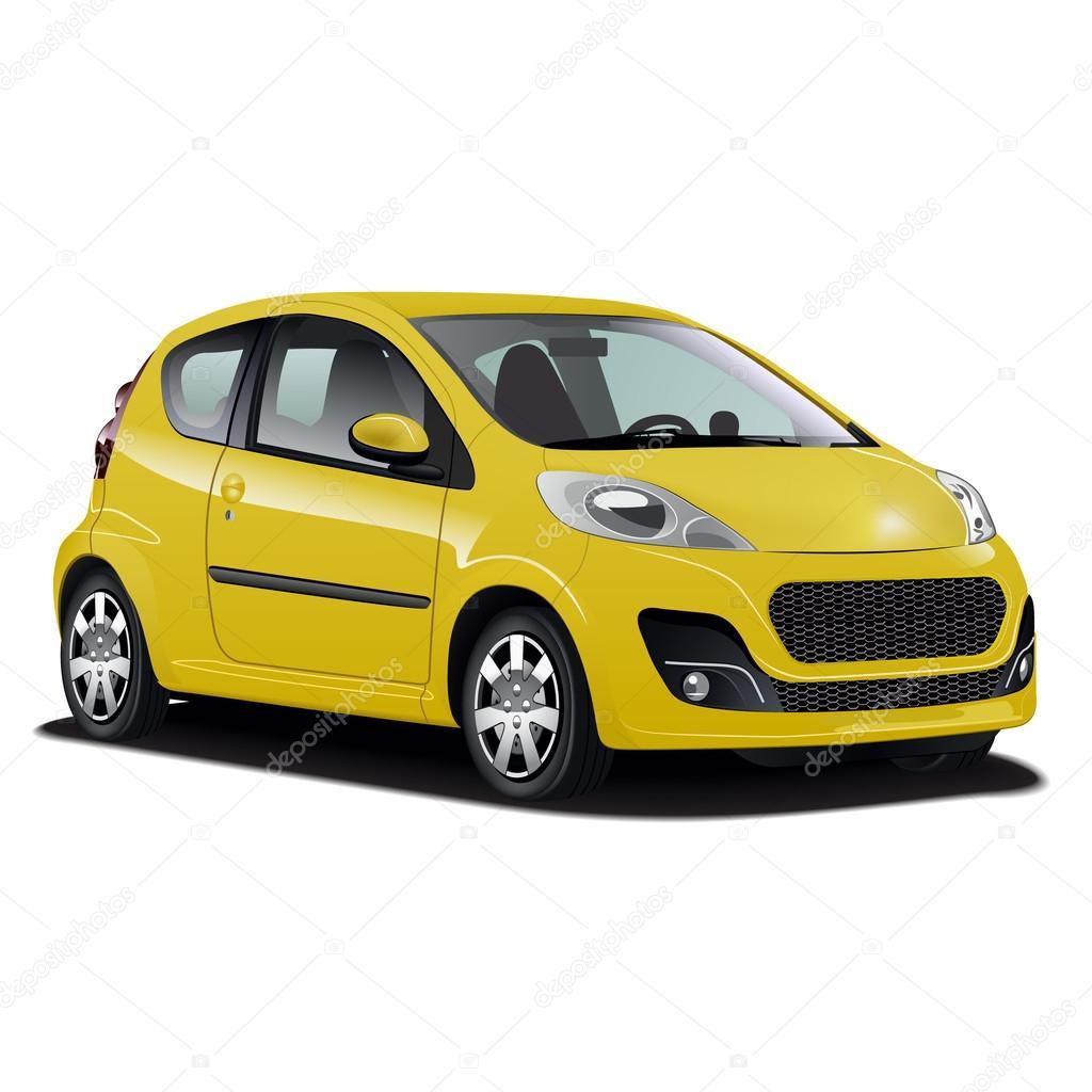 Hyper realistische gele auto illustratie stockvector for Gele lampen auto