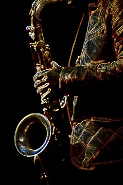 Stylized photo of the male saxophonis playing in sax