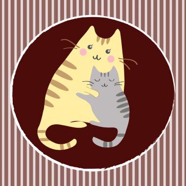 Kittens with mom clip art vector