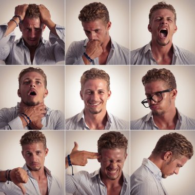 Multiple expression of a businessman