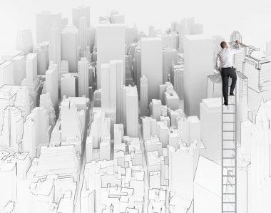 City and office sketch of an architect stock vector