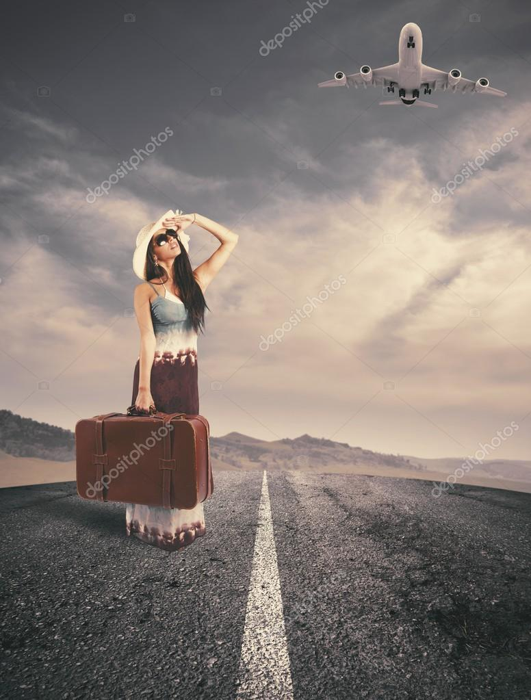 Concept of girl ready to travel