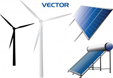 Vectorial icons of solar water heating system, solar panels, wind turbines