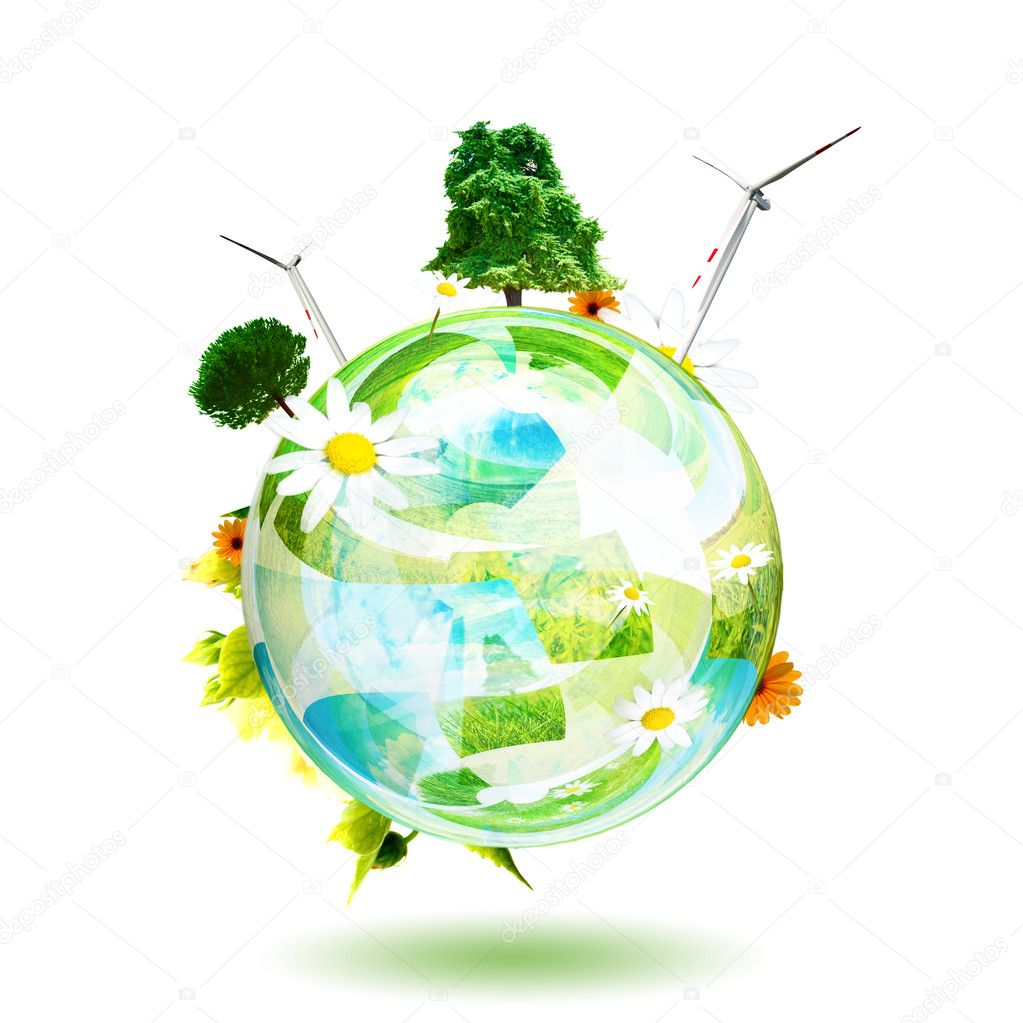 Green world concept. Aerogenerator, tree and flower are the subjects of this image
