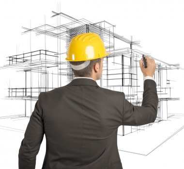 Architect drawing a futuristic sketch on a virual screen stock vector