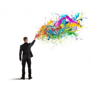 Concept of colorful and creative business with spray color stock vector