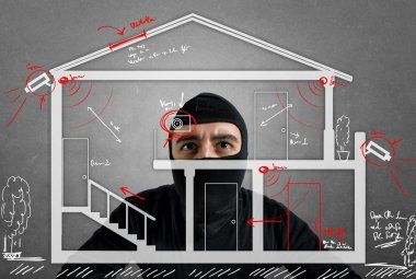 Thief apartment studying security system of a new house stock vector