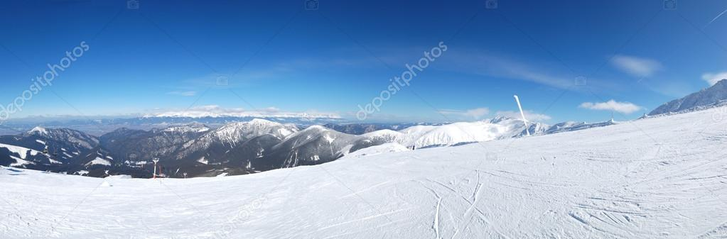 Panoramic view on free ride area in Jasna ski resort and High Ta