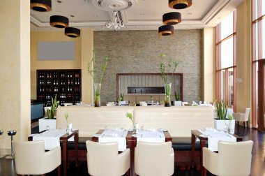 The restaurant interior of luxury hotel, Ras Al Khaimah, UAE