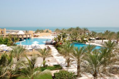 Recreation area of luxury hotel with swimming pools, Ras Al Khai