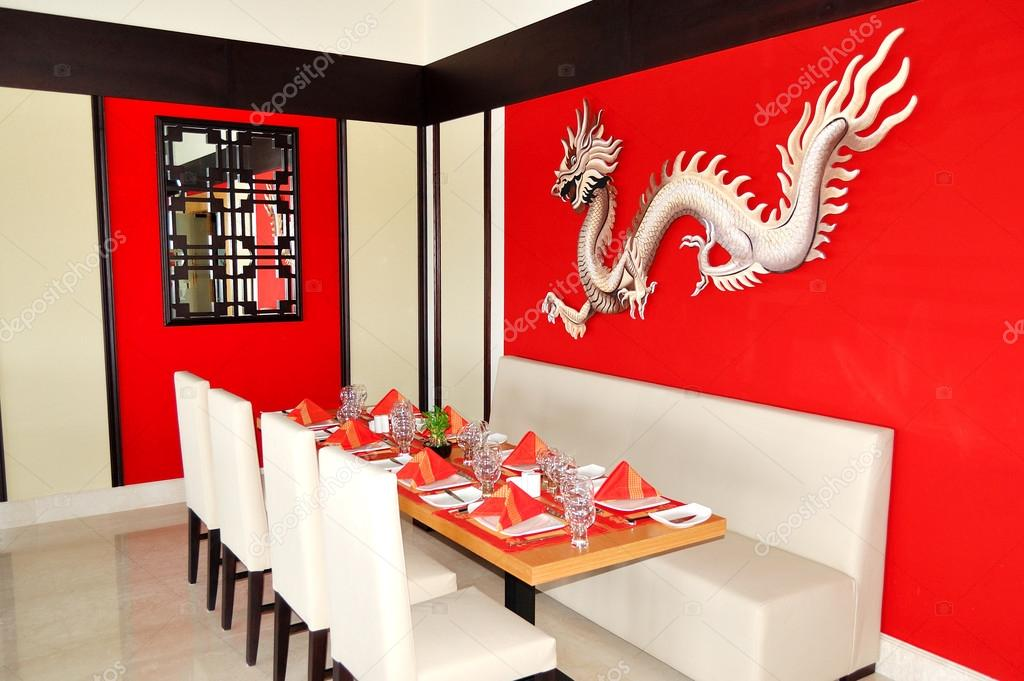 het chinees restaurant interieur van luxehotel ras al khaimah stockfoto