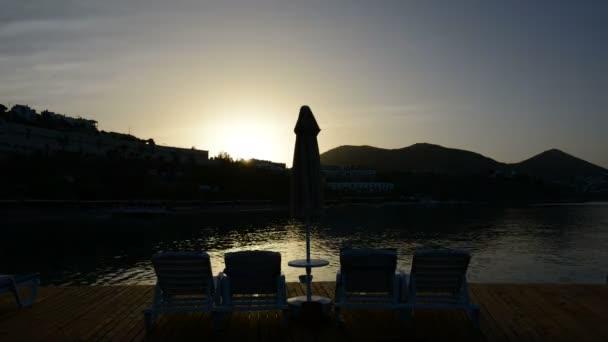 Timelaps of sunrice and beach at luxury hotel, Bodrum, Turkey