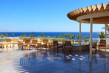 The sea view outdoor terrace at luxury hotel, Sharm el Sheikh, E