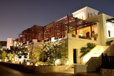 Night illumination of restaurant at luxury hotel, Ras Al Khaima,