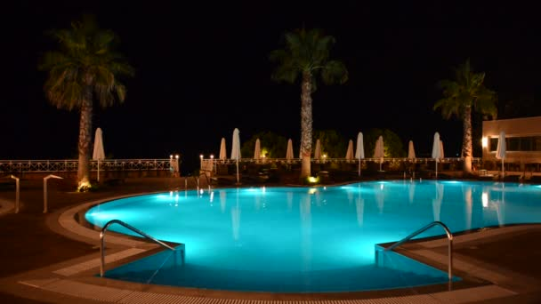 Swimming pool at the luxury hotel with blue color of water, Halkidiki, Greece