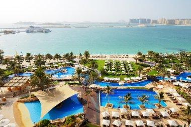 Beach with a view on Jumeirah Palm man-made island, Dubai, UAE