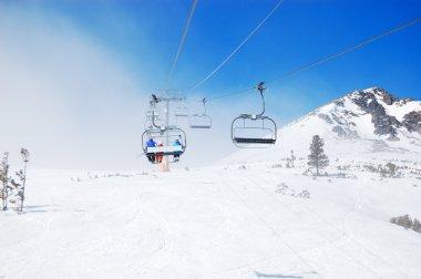 Cableway at popular ski resort in High Tatras Strbske pleso, Slovakia stock vector