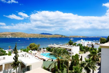 The beach on Aegean Turkish resort, Bodrum, Turkey