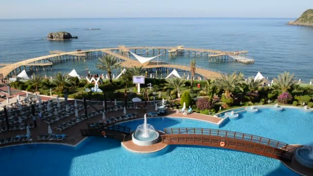The swimming pool near beach at the luxury hotel, Antalya, Turkey