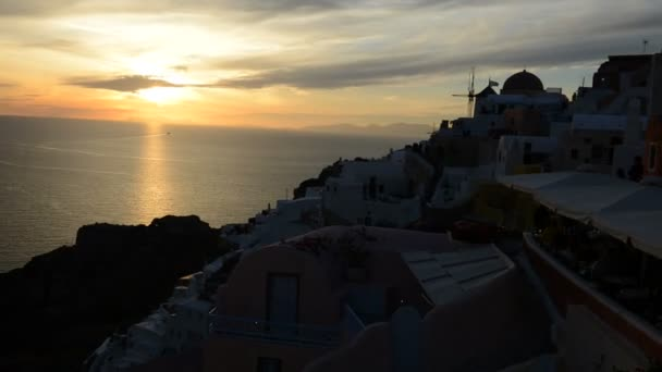 The timelaps of sunset in Oia, Santorini island, Greece