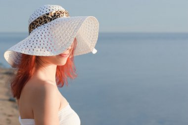 beautiful woman in white hat