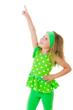 girl points finger up