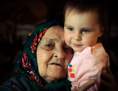 Old woman with a kid