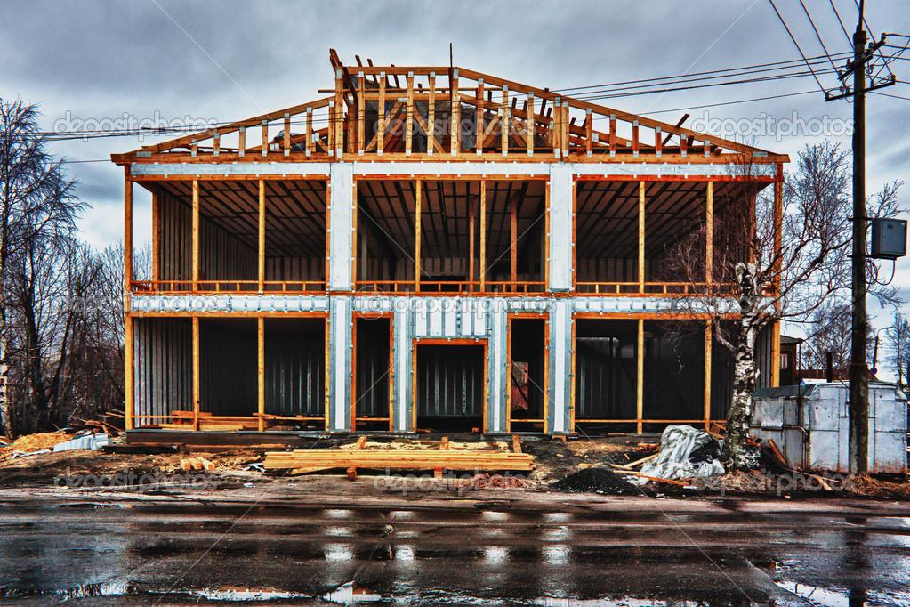 encuadre casa de nueva construcción residencial — Foto de stock ...