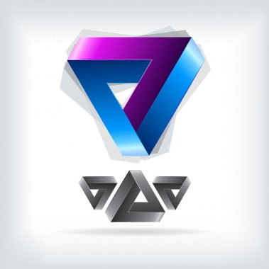 Bright triangle logo. color icon