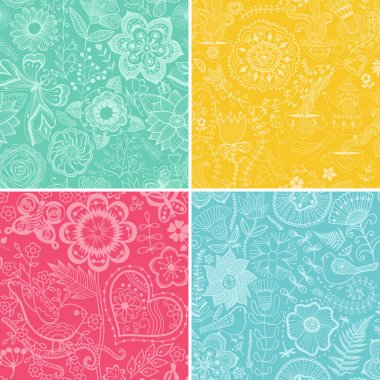 Set colorful floral patterns (seamlessly tiling).Seamless pattern can be used for wallpaper, pattern fills, web page background,surface textures. Floral seamless backgrounds combo. stock vector
