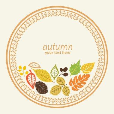 Design round element with autumn leaf, vector illustration, decorative round frame