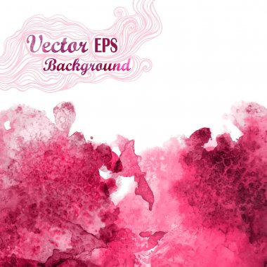 Vector wave in watercolor technique.Grunge background.Drop red abstract watercolor looks like wine splash