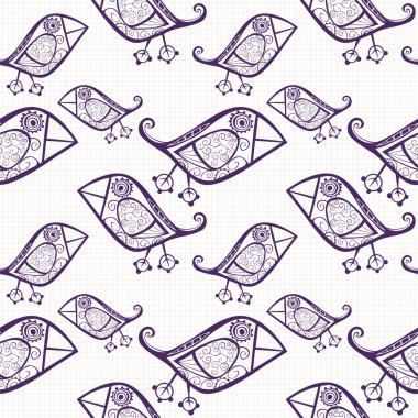Cartoon birds on notebook paper, seamless texture