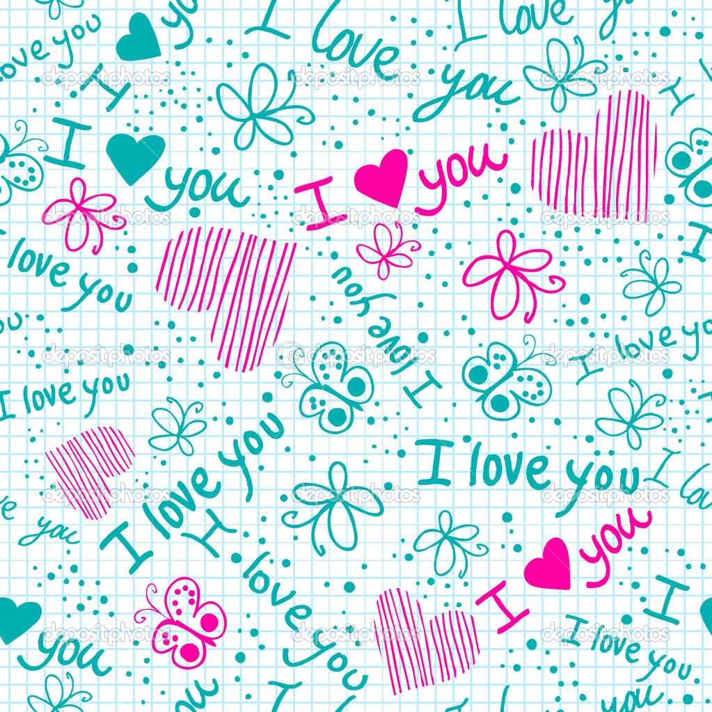 I love you seamless texture with heart and butterfly on for Imagenes de papel decorado