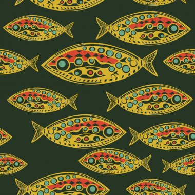 fish seamless pattern in abstract style