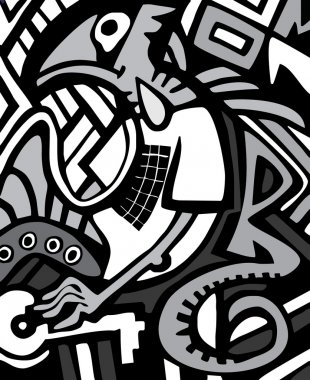 Vector graffiti sketch with dragon