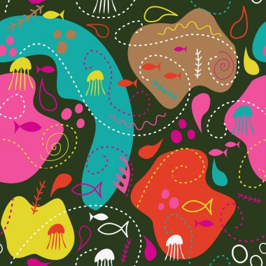 Under water world wallpaper with fish,octopus and vegetation