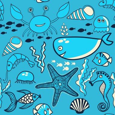 Pattern with fish, crab,seaweed, starfish, seahorse