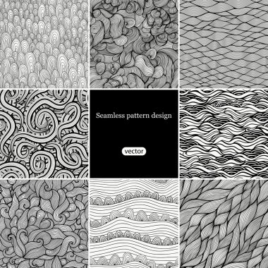 Set of eight black and white wave patterns