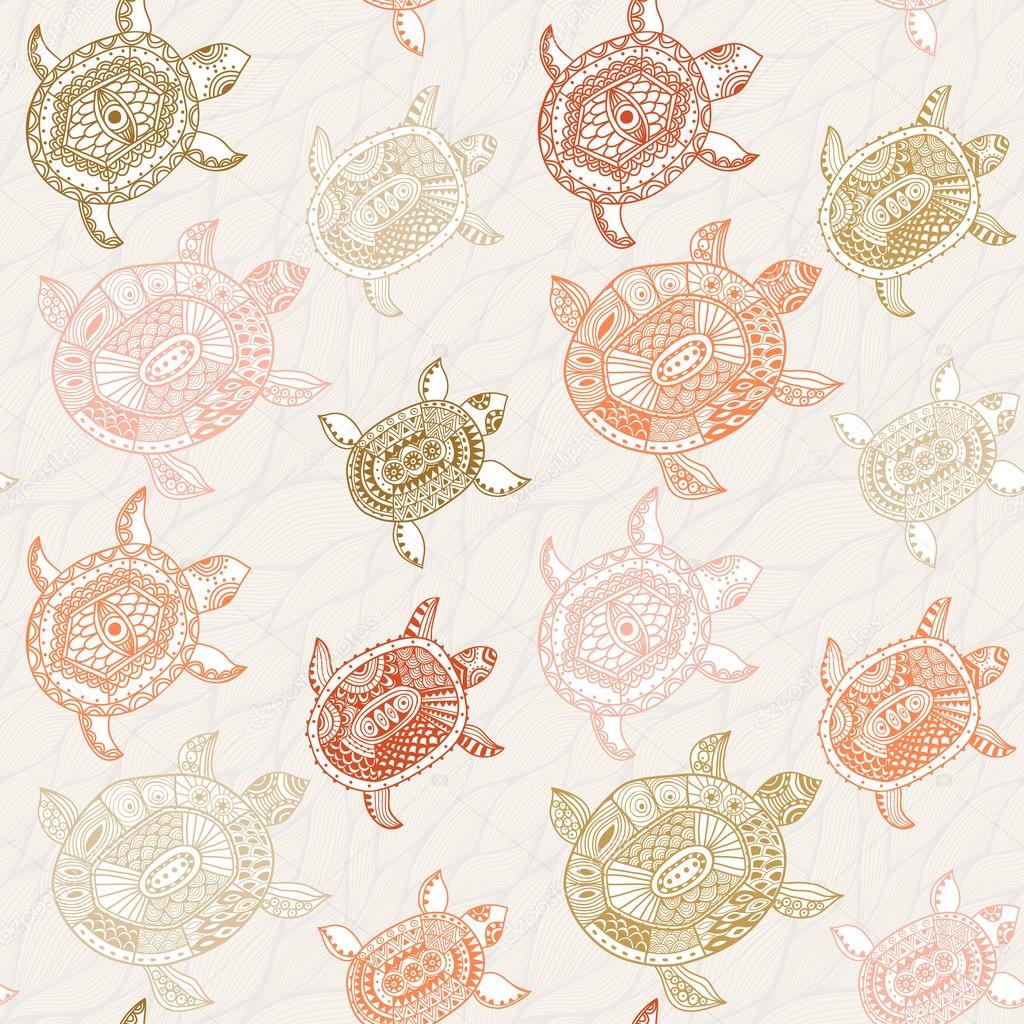 patrones sin fisuras con tortugas — Vector de stock © markovka #21981513