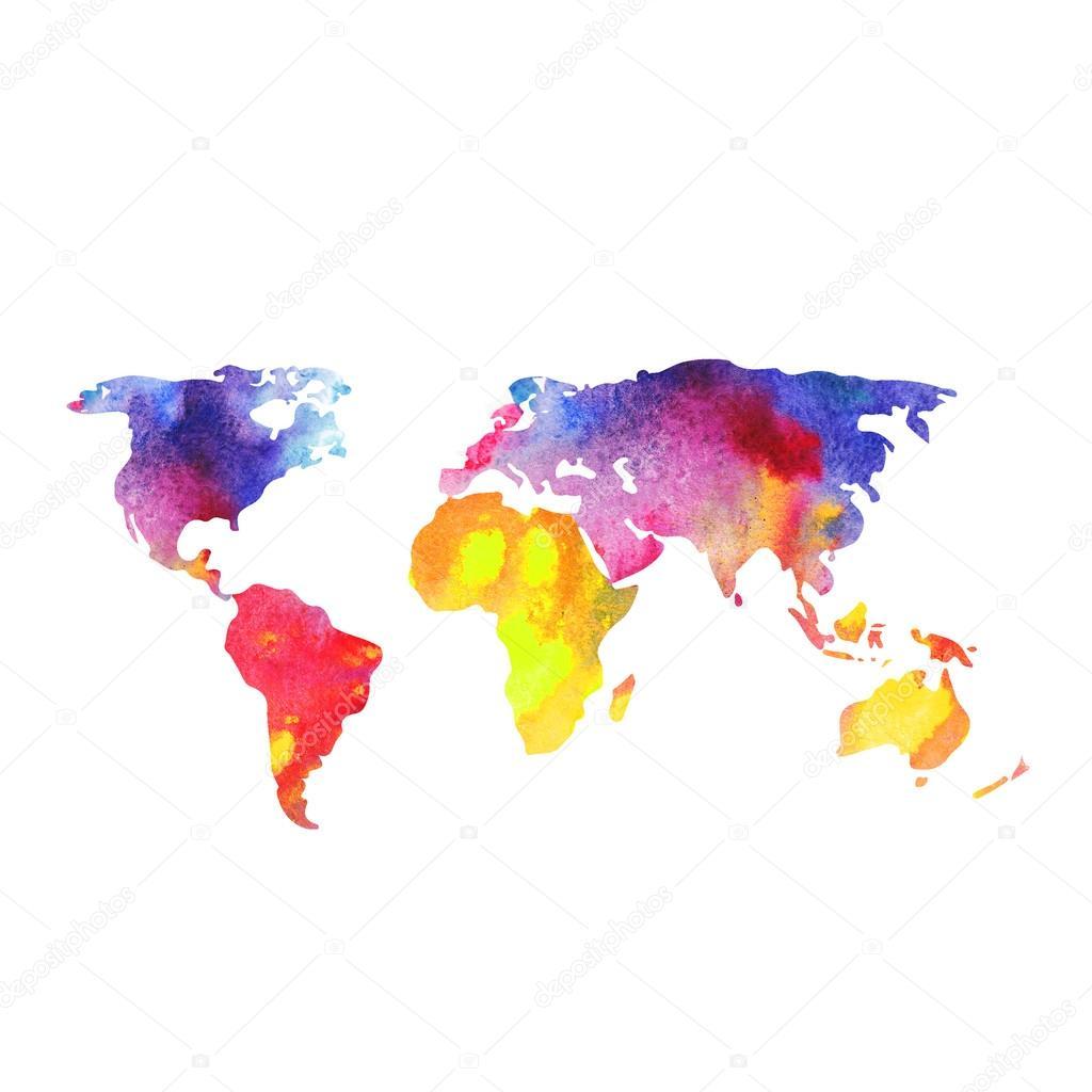 Dünya Harita Dünya Haritası Boya Sulu Boya Ile Boyanmış Stok Foto